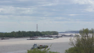 Stock Video Footage of Barges on Mississippi River time lapse