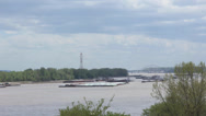 Stock Video Footage of time lapse Barges on the Mississippi River