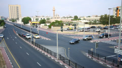 Traffic crossroad time lapse from dubai city Stock Footage