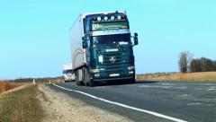 Trucks on Highway Stock Footage