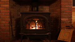 Wood Stove Fire in Fireplace - stock footage