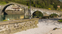 Time Lapse of Devil's bridge, in Tuscany. Stock Footage