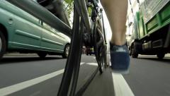 Low Angle Bike Ride In The City - Point Of View Stock Footage