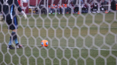 Soccer goalie kick the ball Stock Footage