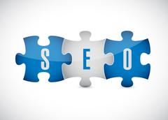 seo puzzle pieces illustration design - stock illustration