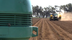 California Agriculture,  drip irrigation installation - stock footage