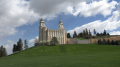 Manti LDS Temple on hill 4K 013 Stock Footage