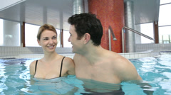 Couple enjoying bathtime in spa resort Stock Footage