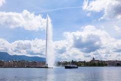 "the water fountain "" jet d'eau "" symbol of geneva switzerland - stock photo"