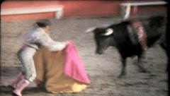 1077 - matador fights and kills a bull in old Mexico - vintage film home movie Stock Footage