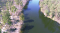 river with reflections of trees. Aerial top view HD Footage