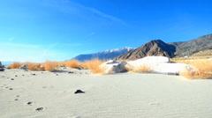White Sand, Footsteps, Mountain Lake - stock footage