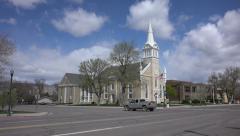 Manti Utah City LDS Tabernacle school bus 4K 012 Stock Footage