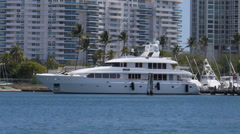 Yacht Trident  M4 in marina luxury boat-ship Stock Footage