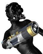 Female cyborg assassin Stock Illustration