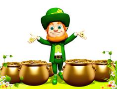 Leprechaun for st patrick day with golden pot - stock illustration