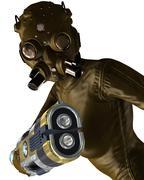female cyborg assassin - stock illustration