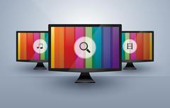Three monitors with media icons Stock Illustration