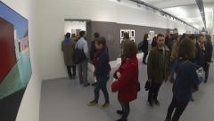 People in Art Museum Gallery Stock Footage