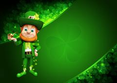 Stock Illustration of Leprechaun for st patrick day with smoking pipe