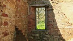 Looking through a window in an old building Stock Footage