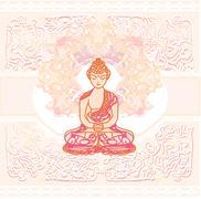 Chinese traditional artistic buddhism pattern Stock Illustration