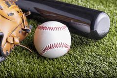 Ball and glove - stock photo