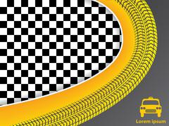 Taxi advertisement design with checkered background Stock Illustration