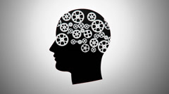 silhouette of a person with gears - stock footage