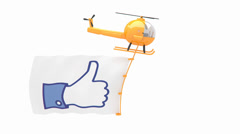 helicopter with like button flag - stock footage