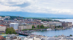 4K Timelapse of Geneva Mont Blanc bridge from the Saint-Pierre cathedral Stock Footage
