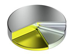 abstract creative growing precious metal pie chart - stock illustration
