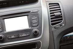 Stock Photo of car radio with cutout white blank screen