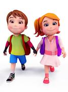 kids walking with school bags - stock illustration