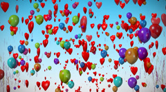 Balloons, hearts & confetti celebration. Stock Footage