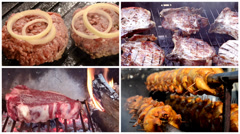 Cooking meat collage Stock Footage