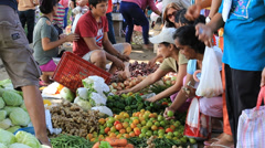 Vegetables and fruits at the market. Dumaguete, island Negros, Philippines. - stock footage