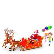 Santa claus with reindeer rudolph sleight and kids - stock illustration