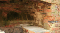 Large old brick fireplace  close up Stock Footage