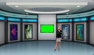 Education 004 TV Studio Set - Virtual Green Screen Background PSD PSD Template