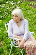 The grandmother in  garden under a blossoming apple-tree Stock Photos