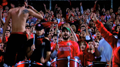 Soccer Fans with Drums Closeup and slow motion Stock Footage