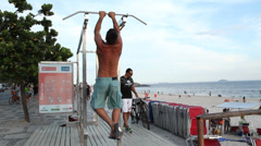 man exercise at copacabana - stock footage