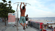 Stock Video Footage of man exercise at copacabana