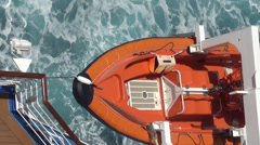 Lifeboat on a ship - stock footage