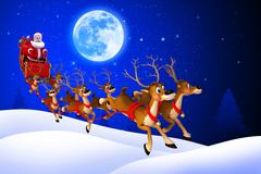 Santa claus with reindeer rudolph sleight - stock illustration
