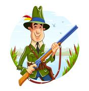 Hunter man with rifle on river background - stock illustration