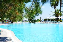 swimming pool at luxury hotel, antalya, turkey - stock photo