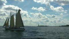 Sailing around Manhattan Stock Footage