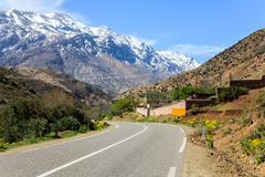 Kasbah at atlas mountain in morocco - stock photo